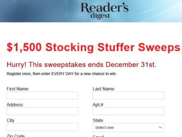 Reader's Digest Stocking Stuffer Sweepstakes