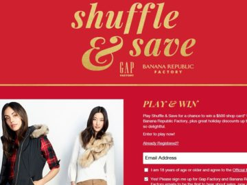 GAP Holiday Shuffle & Save Sweepstakes and Instant Win Game