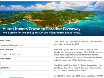 """Hilton Honors & CruisesOnly """"Cruise to Paradise"""" Giveaway Sweepstakes"""