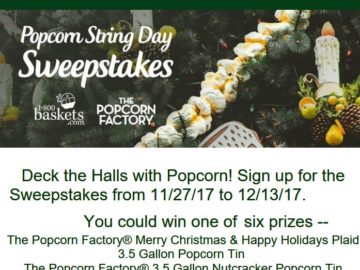 1-800-BASKETS.COM & THE POPCORN FACTORY 2017 Popcorn String Day Sweepstakes – Facebook