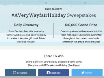 Wayfair's #AVeryWayfairHoliday Sweepstakes