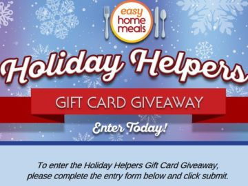 Easy Home Meals Holiday Helpers Gift Card Giveaway Sweepstakes