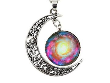 INSTANTLY WIN a Shally Women's Galaxy & Crescent Cosmic Moon Pendant Necklace