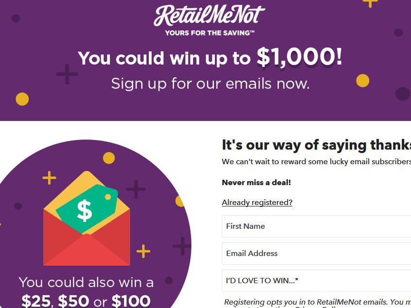 Retailmenot Subscriber Sweepstakes