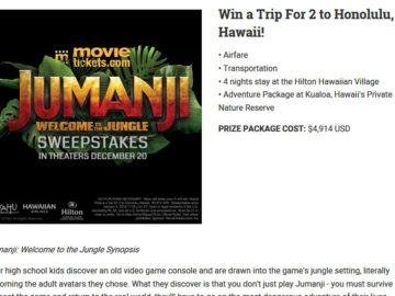 MovieTickets com Jumanji: Welcome to the Jungle Sweepstakes