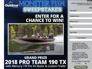 "Bass Pro Shops ""Monster Fish"" Sweepstakes"