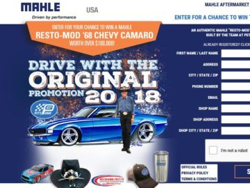 "2018 MAHLE ""Drive with the Original"" Sweepstakes and Instant Win Game"