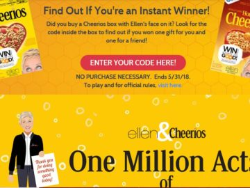 EllenTube Cheerios One Million Acts of Good Sweepstakes – Code Required