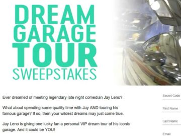 CNBC's Jay Leno's Dream Garage Tour Sweepstakes- Code Required