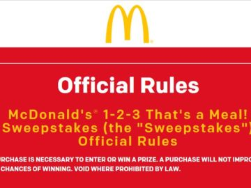 McDonald's 1-2-3 That's a Meal! Sweepstakes