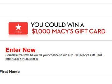 Win a $1,000 Macy's Gift Card