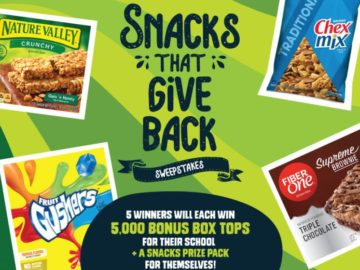 Box Tops for Education Snacks that Give Back Sweepstakes