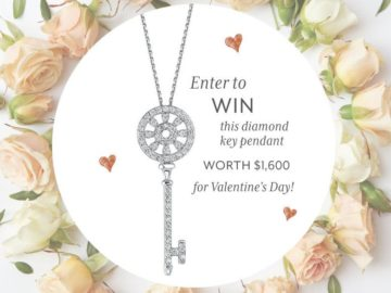 Win a 0.14 carat White Gold Diamond Key Shaped Pendant