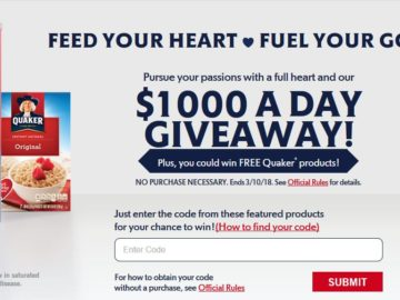 "Quaker Oats ""Feed Your Heart"" Instant-Win Game – Code"