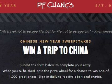 P.F. Chang's Chinese New Year Sweepstakes and Instant Win