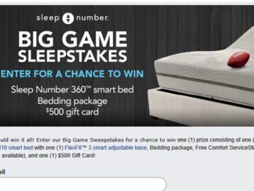 Sleep Number Big Game Sweepstakes (Facebook)