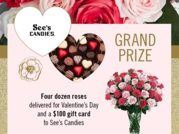 Win Four Dozen Roses And A 100 Sees Candies Gift Card