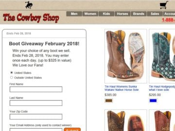 The Cowboy Shop Boots Giveaway Sweepstakes