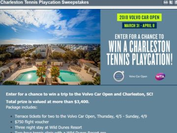 Charleston Tennis Playcation Sweepstakes