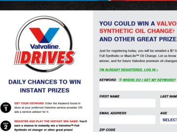 Valvoline Drives Instant Win Game (Code)