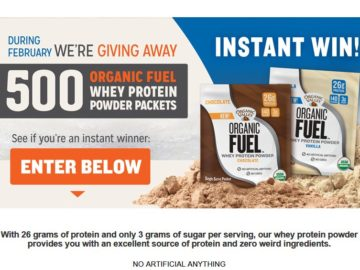 Organic Fuel Protein Powder Instant Win Sweepstakes