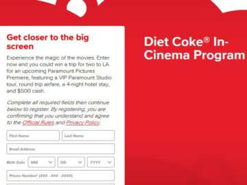 Diet Coke In-Cinema Program Sweepstakes