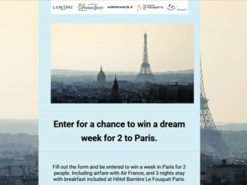 Lancôme Paris – Perrier-Jouët – Atout France 2018 Sweepstakes