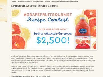 Ocean Spray Grapefruit Gourmet Recipe Contest