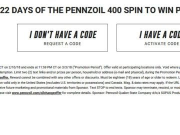 22 Days to the Pennzoil 400 Spin-To-Win Sweepstakes