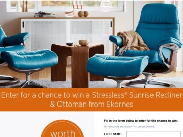 Win a Sunrise Recliner and Ottoman in Paloma Leather