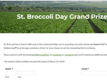 Foxy St. Broccoli Day Sweepstakes