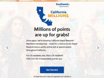 Southwest Airlines California Millions Rapid Rewards Points Contest and Instant Win Game (California Only)