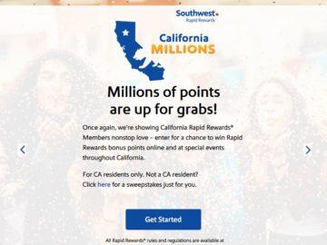 Southwest Airlines California Millions Rapid Rewards Points