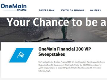 OneMain Financial 200 VIP Sweepstakes