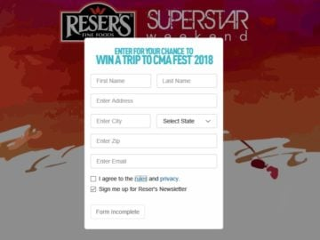 Reser's Super Star Weekend Sweepstakes and Instant Win Game