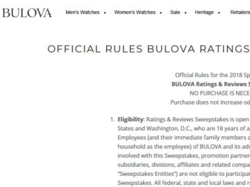 BULOVA Ratings & Reviews Sweepstakes
