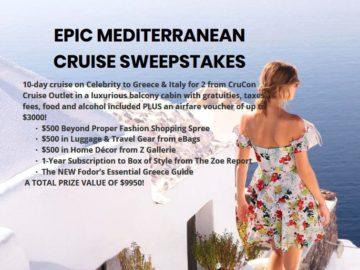 Beyond Proper Epic Mediterranean Cruise Sweepstakes