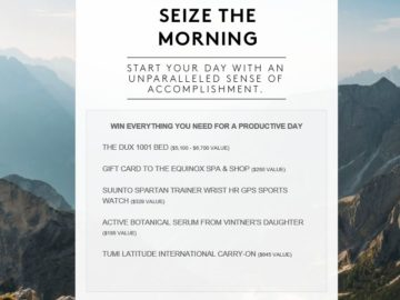 Furthermore from Equinox Seize the Morning Sweepstakes