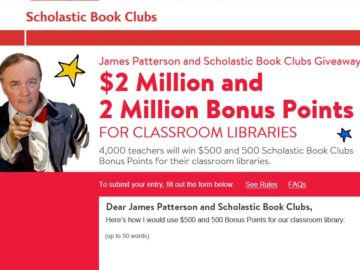 James Patterson and Scholastic Book Clubs Classroom Library Giveaway Sweepstakes (Teachers Only)