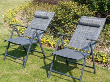 Win Two Adjustable Outdoor Recliner Lounge Chairs