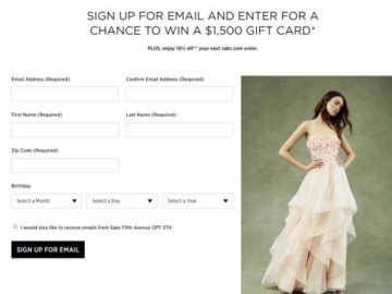 Saks Fifth Avenue $1500 Shopping Spree Sweepstakes