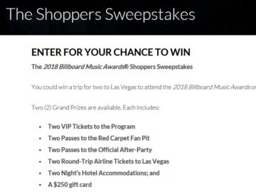 2018 Billboard Music Awards Shoppers Sweepstakes