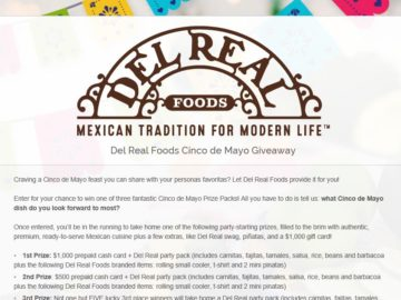 Win a $1,000 Prepaid Cash Card and a Del Real Party Pack