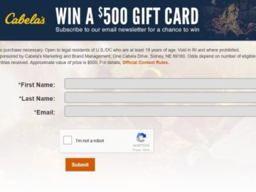 Cabela's Email April Sweepstakes