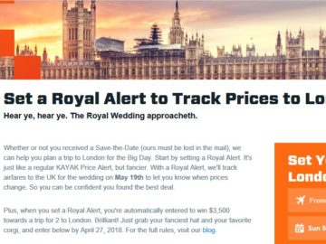 KAYAK Royal Price Alert Sweepstakes