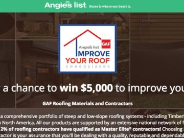 Angies List Improve Your Roof Sweepstakes