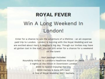 Royal Fever! Win a Long Weekend in London Sweepstakes