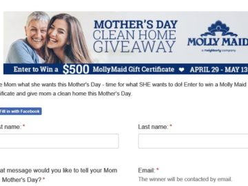 We're Maid for Mom Mother's Day 2018 Giveaway Sweepstakes (Facebook)