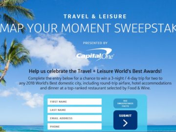 """Travel + Leisure """"Map Your Moment"""" Sweepstakes"""