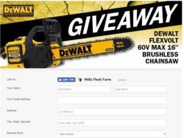 DeWalt Flexvolt 60V Brushless Chainsaw Giveaway Sweepstakes